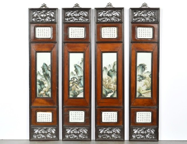 Four Chinese Framed Hanging Panels