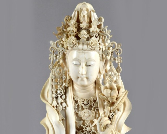Japanese Carved Ivory Figure of a Goddess