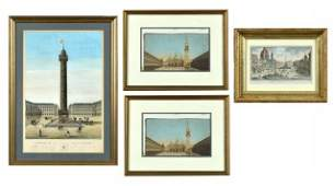 Group of Four Assorted Continental Framed Prints