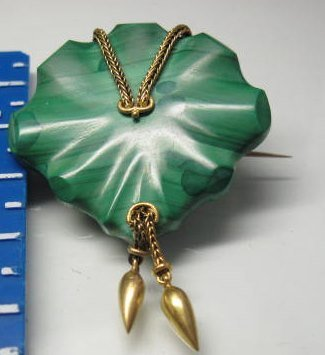 14K Malachite Pin