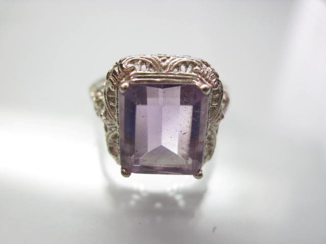 14K Amethyst Filigree Ring