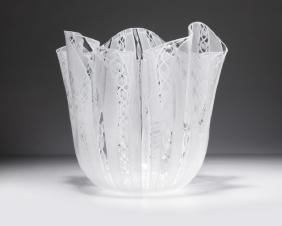 A Venini ''Fazzoletto Zanfirico'' art glass vase