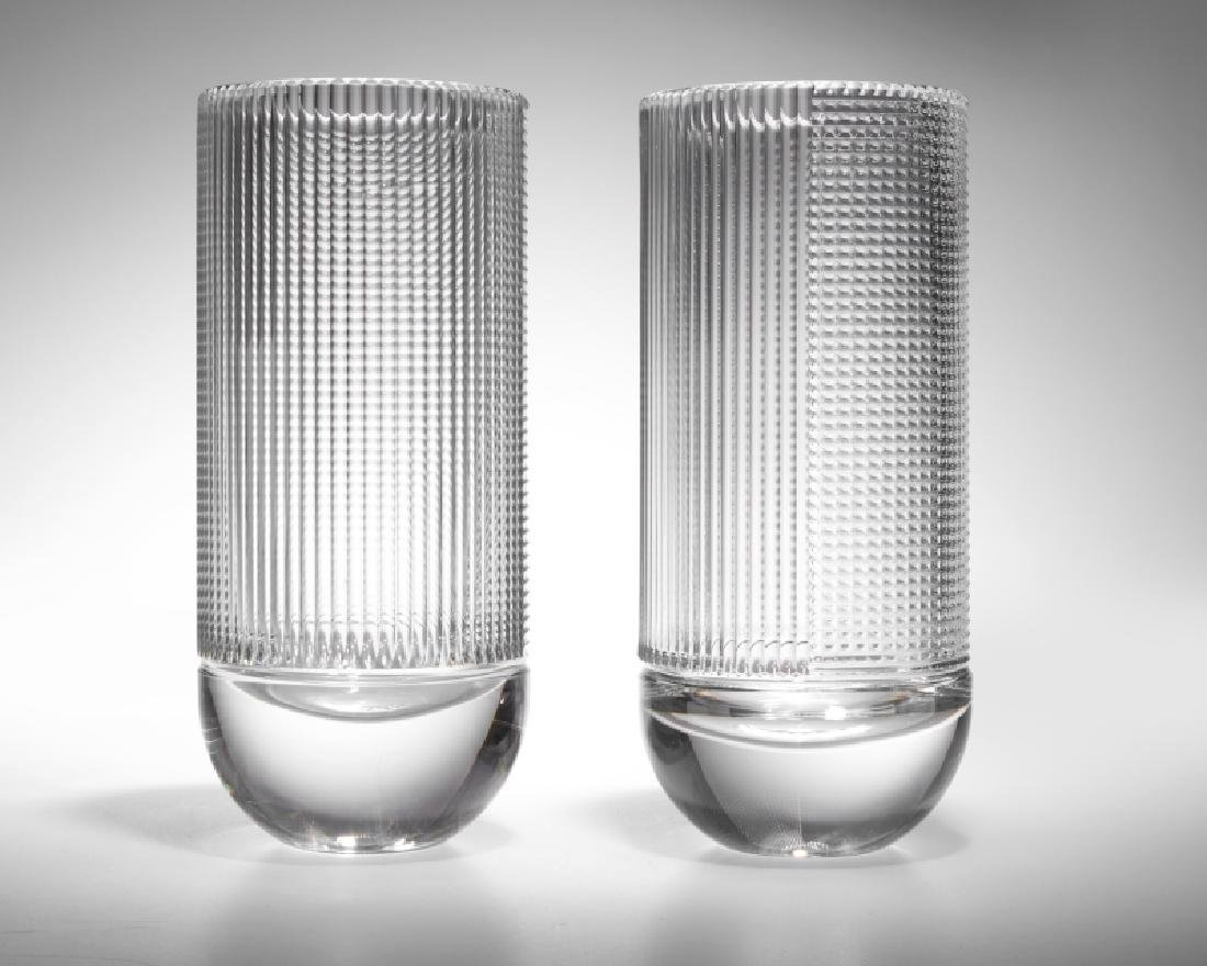 A pair of French Saint Louis crystal vases