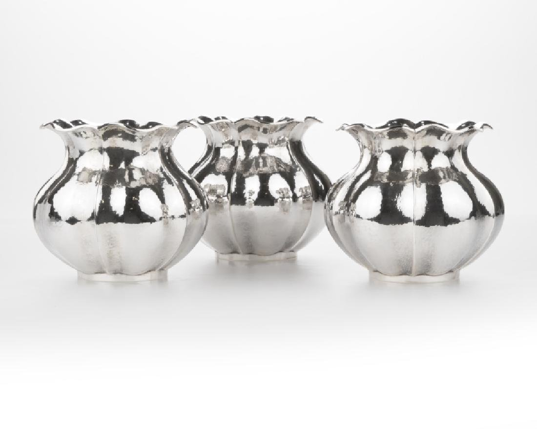 Three Buccellati sterling silver vases