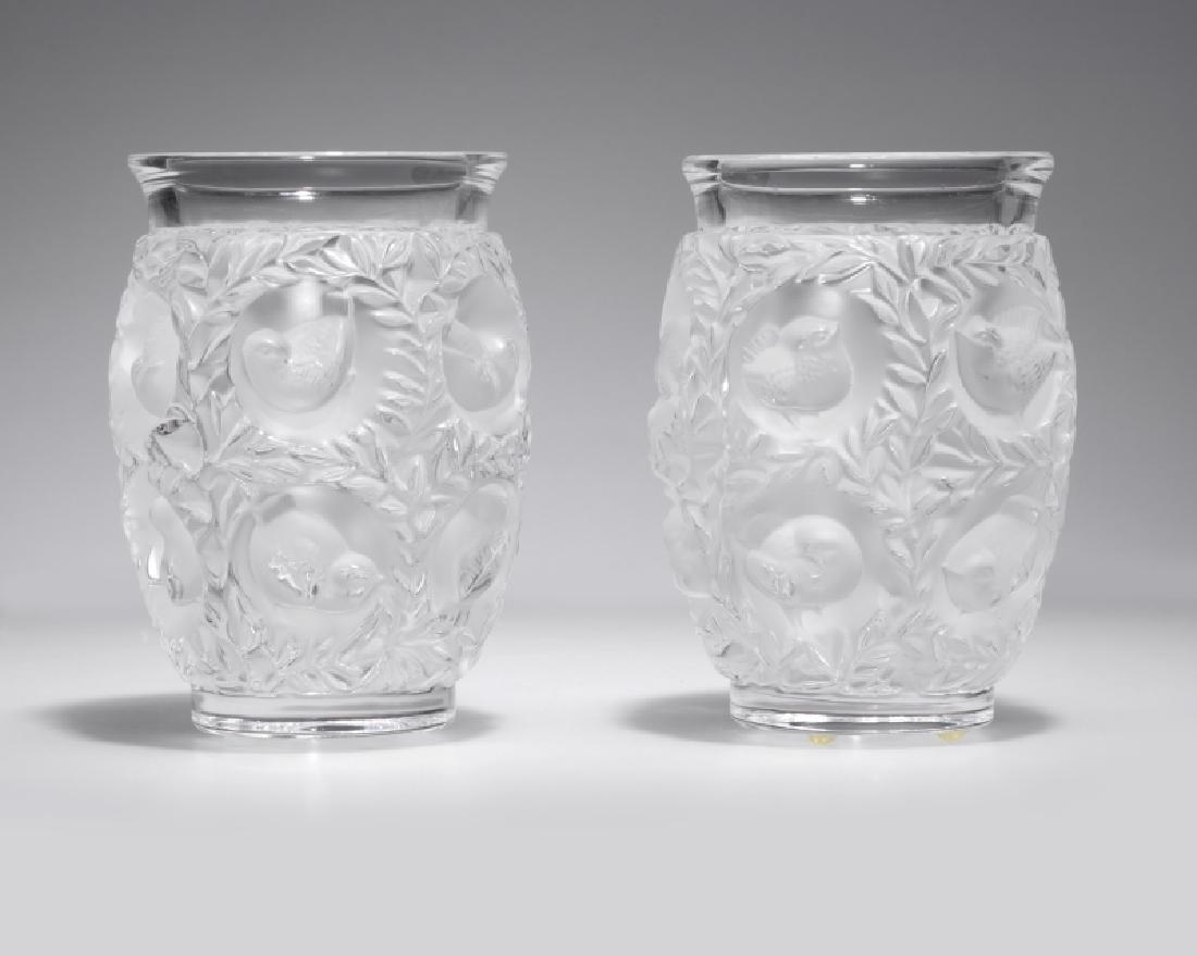 A pair of Lalique ''Bagatelle'' art glass vases