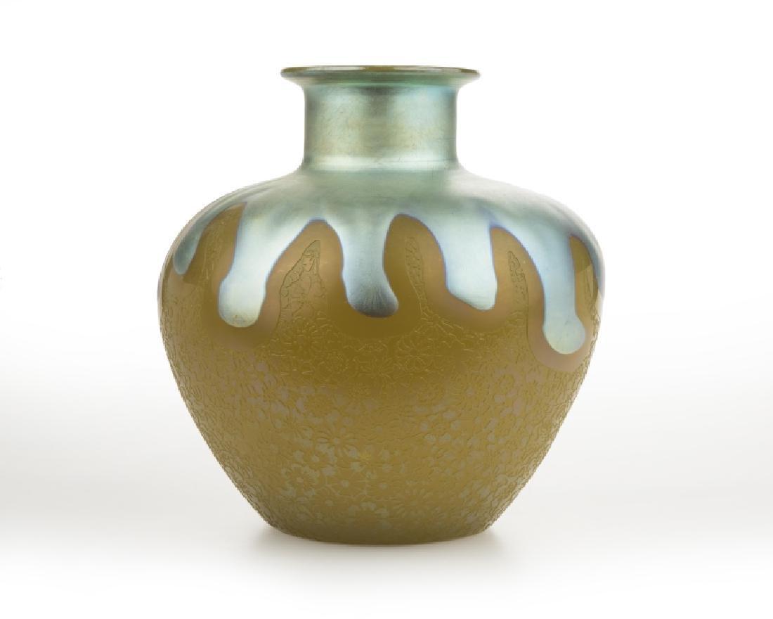 A Steuben blue Aurene and yellow jade glass vase