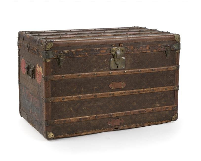 Brass and wood-bound Louis Vuitton steamer trunk