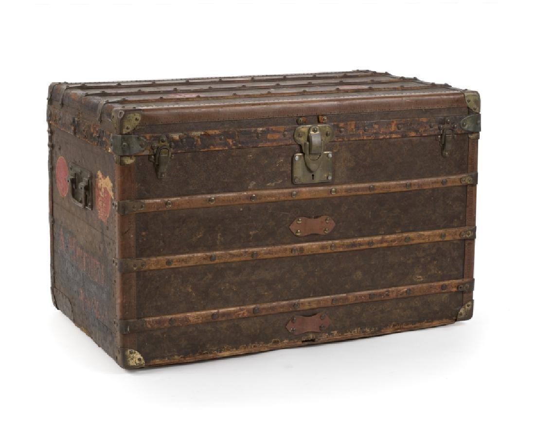 Brass and wood-bound Louis Vuitton steamer trunk