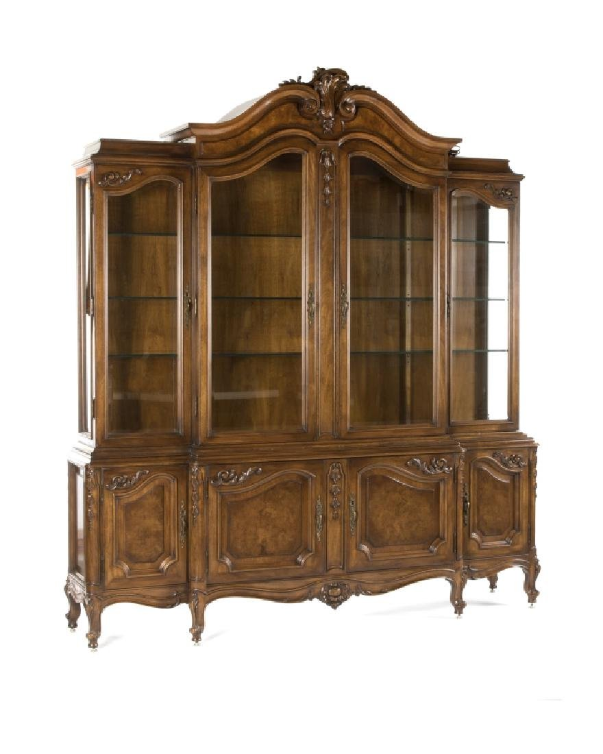 Karges French Provincial-style breakfront cabinet