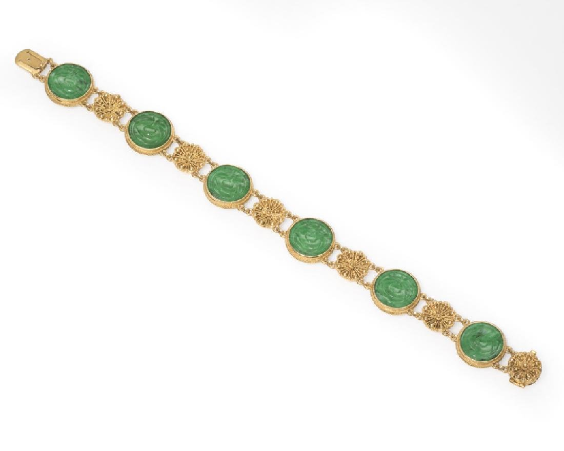 An Antique jadeite and gold bracelet, Tiffany & Co.