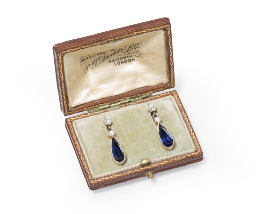 A pair of Edwardian sapphire and diamond earrings