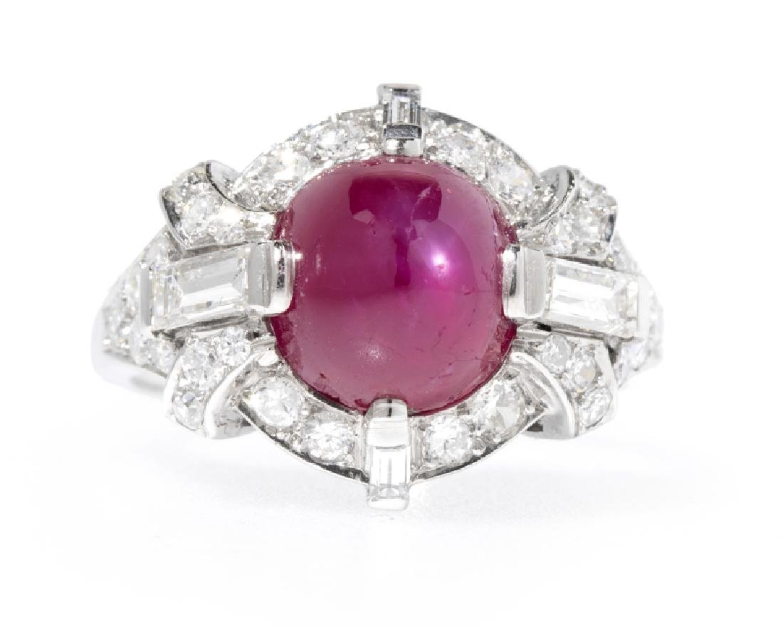 An Art Deco Burmese star ruby and diamond ring