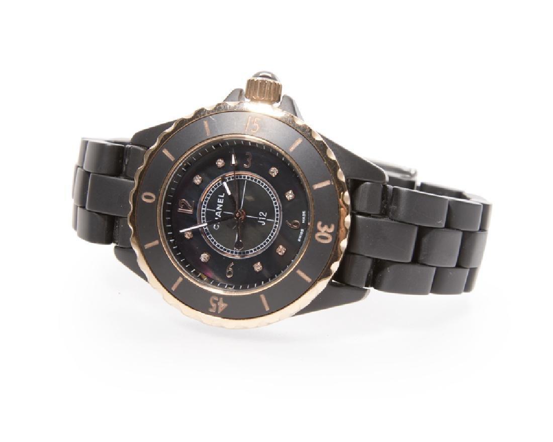 A Ladies Black Chanel J12 Wristwatch