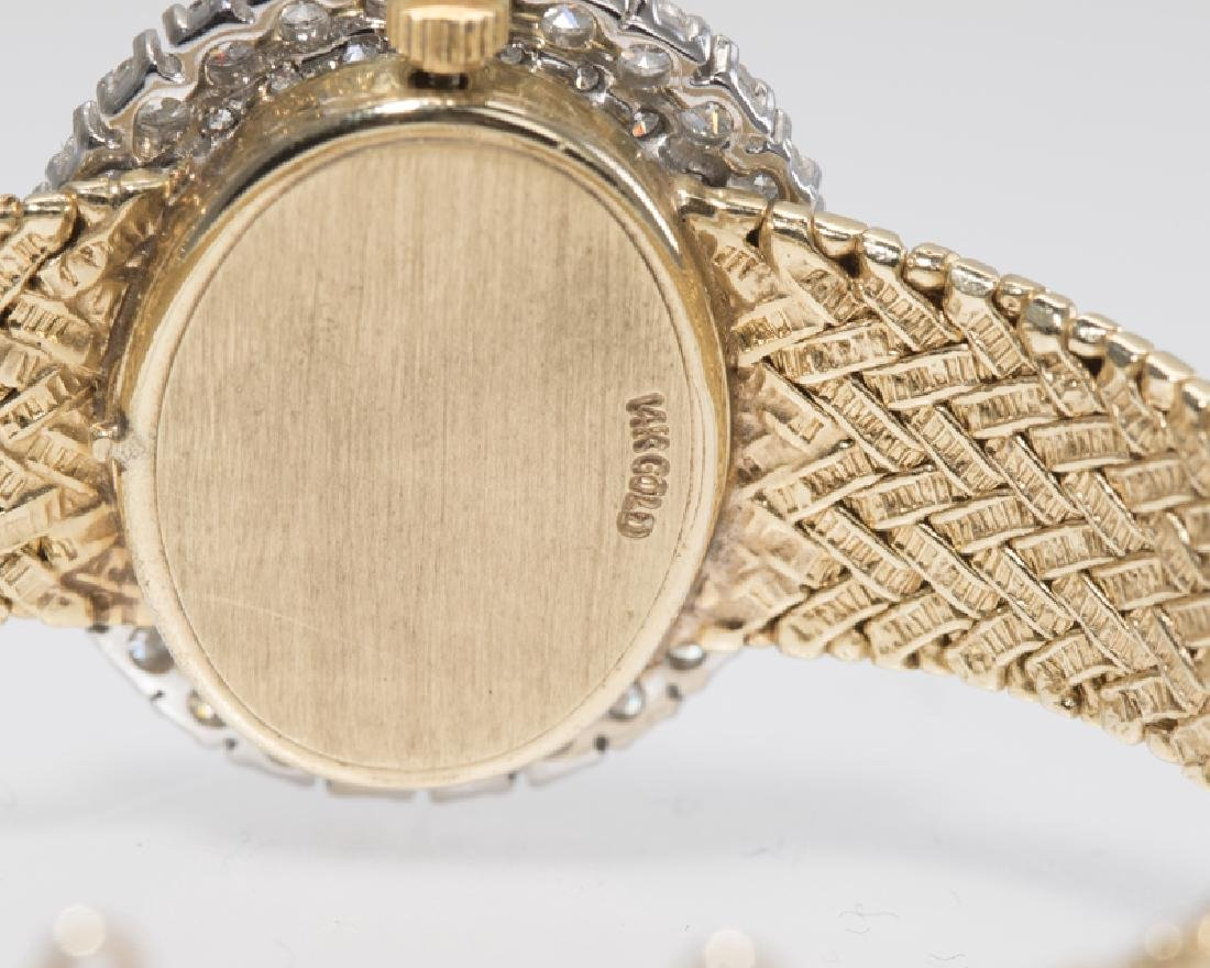 A diamond and gold quartz wristwatch, Omega - 2