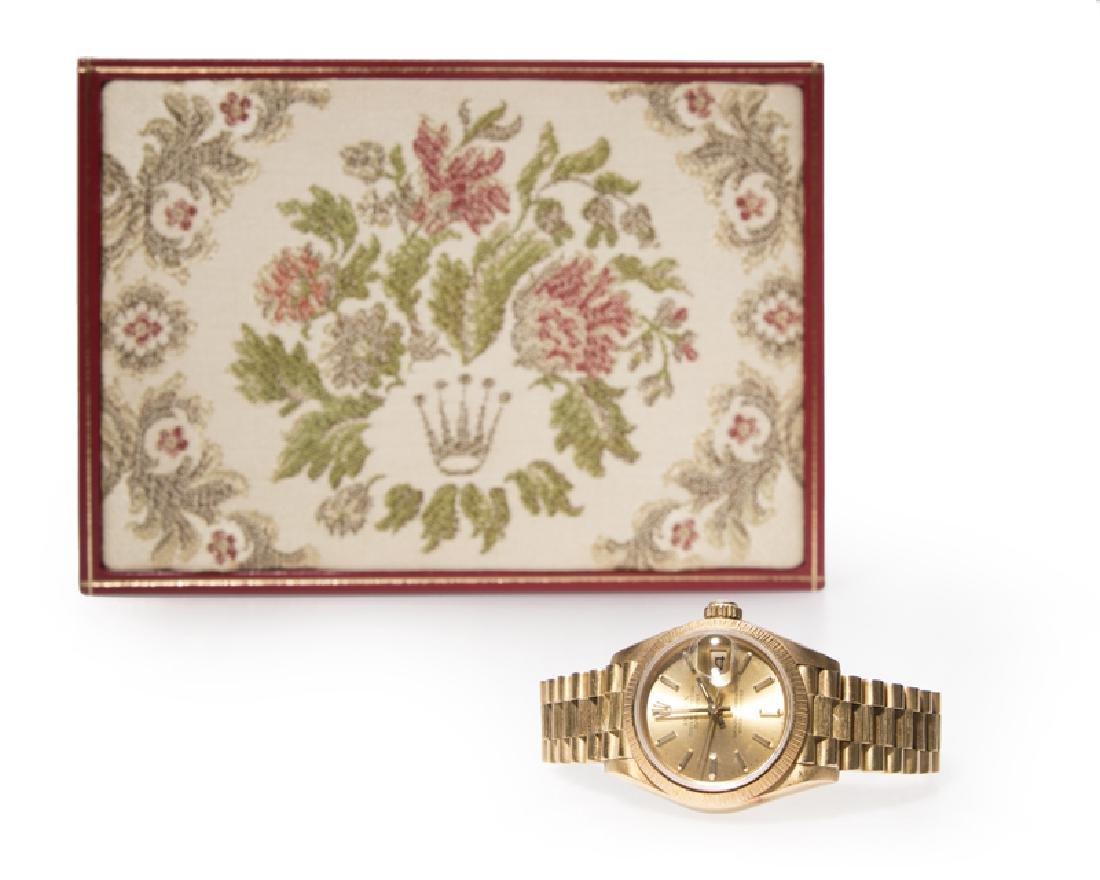 A ladies Gold Rolex Oyster wrist watch