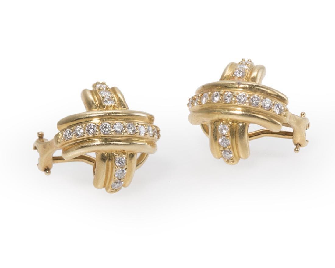 "A pair of diamond ""X"" earrings, Tiffany & Co."