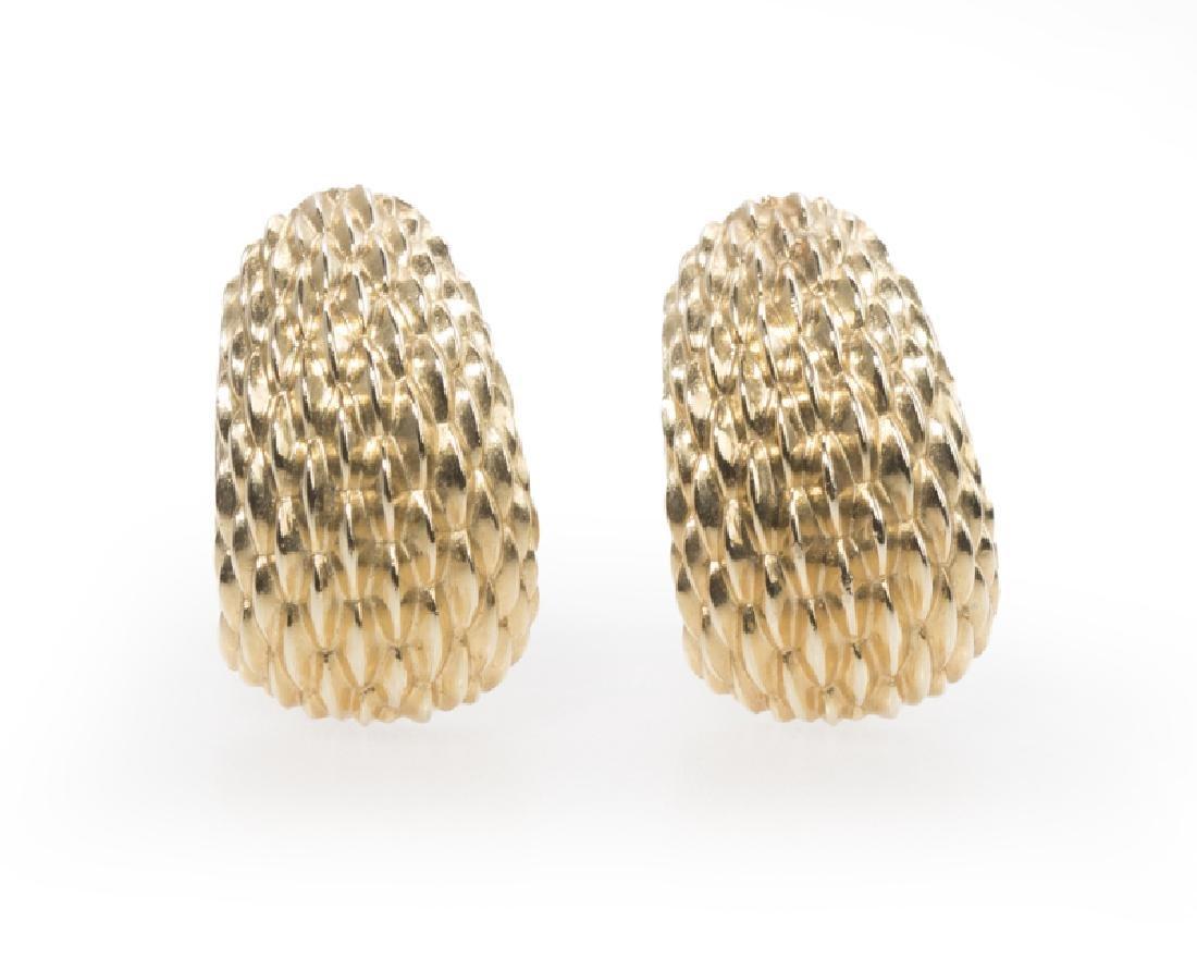 Pair of textured gold shrimp ear clips, Tiffany & Co.
