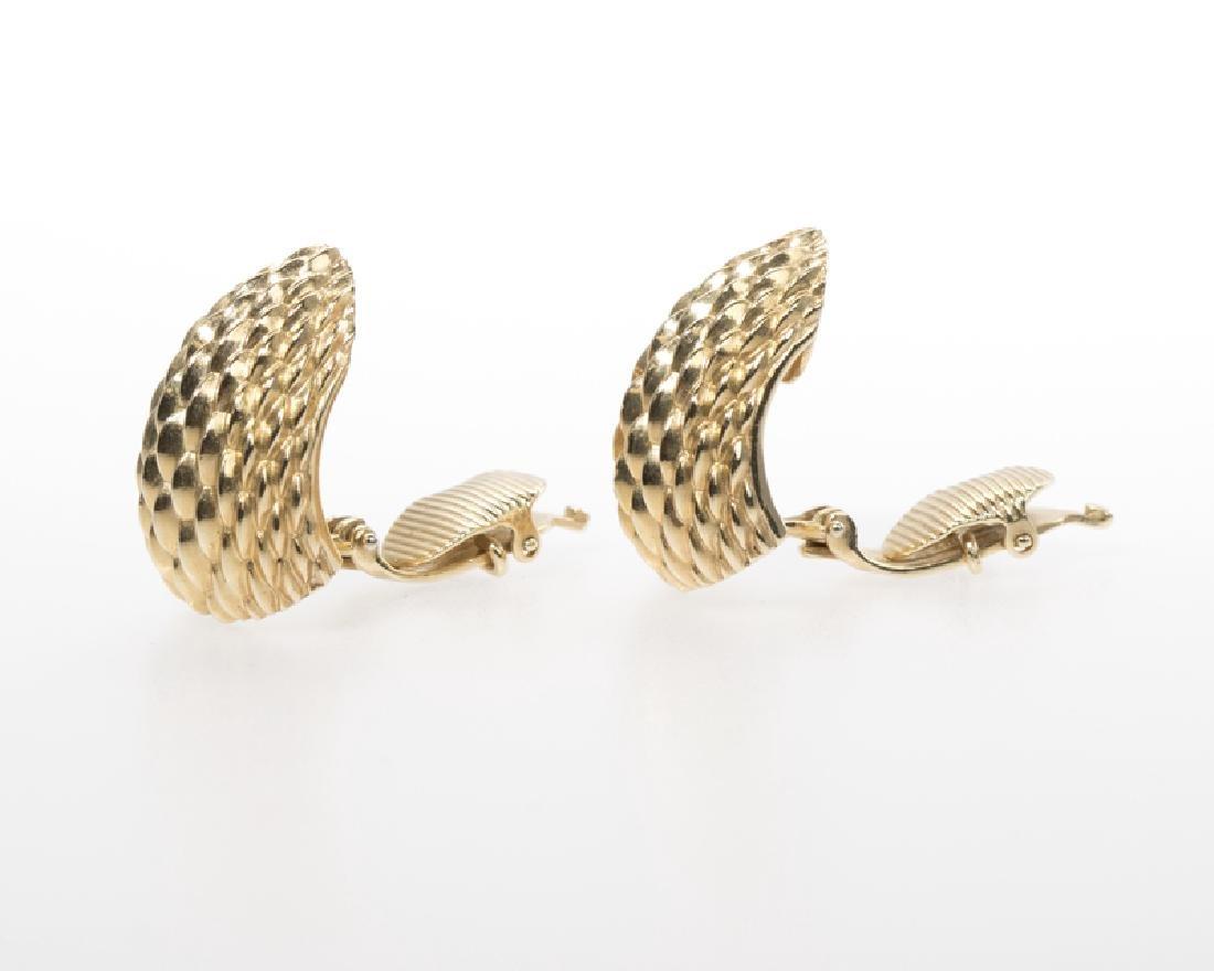 Pair of textured gold shrimp ear clips, Tiffany & Co. - 2