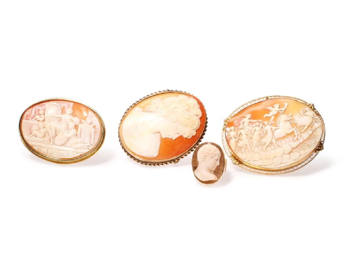 A group of four shell cameos