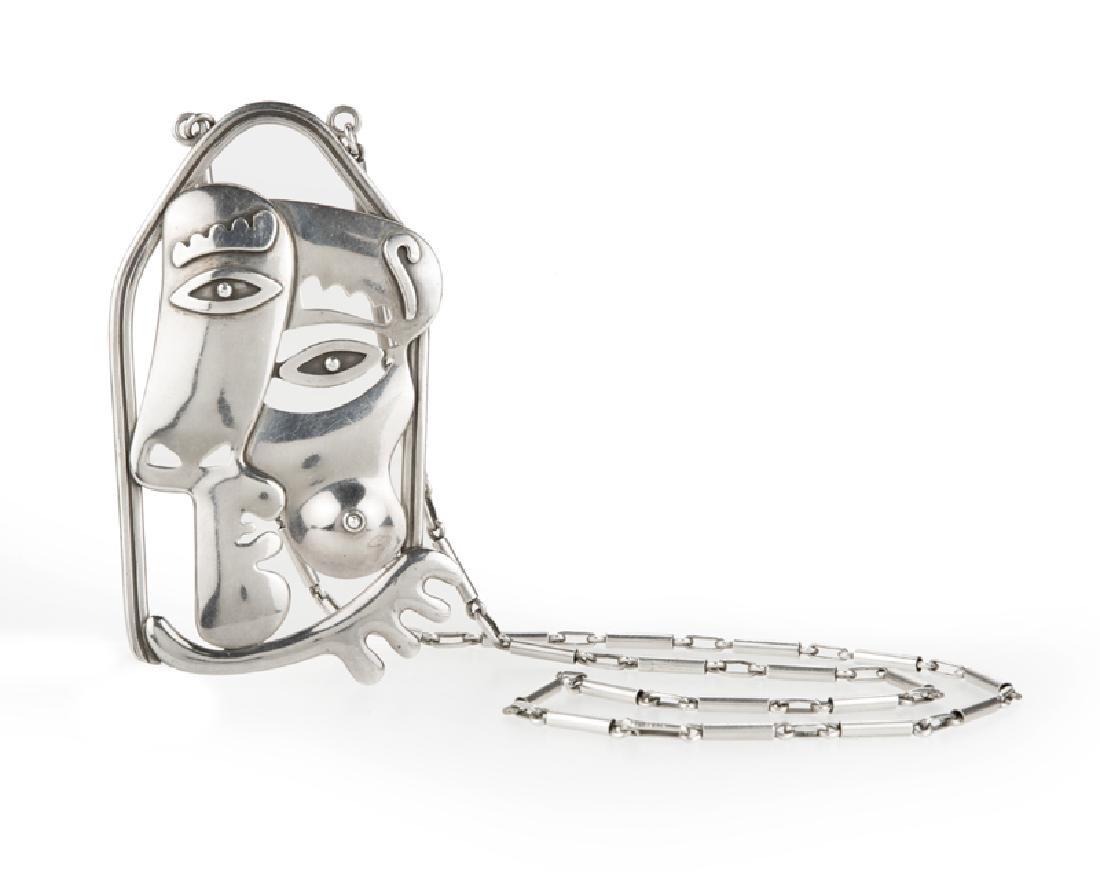 A Cubist silver necklace, Miguel Garcia for Taxco