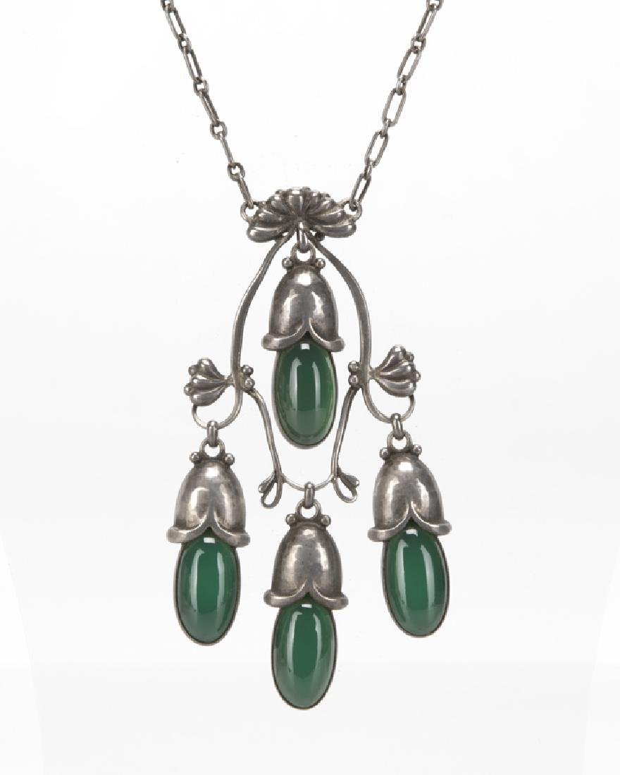 A Georg Jensen silver and green chrysoprase necklace