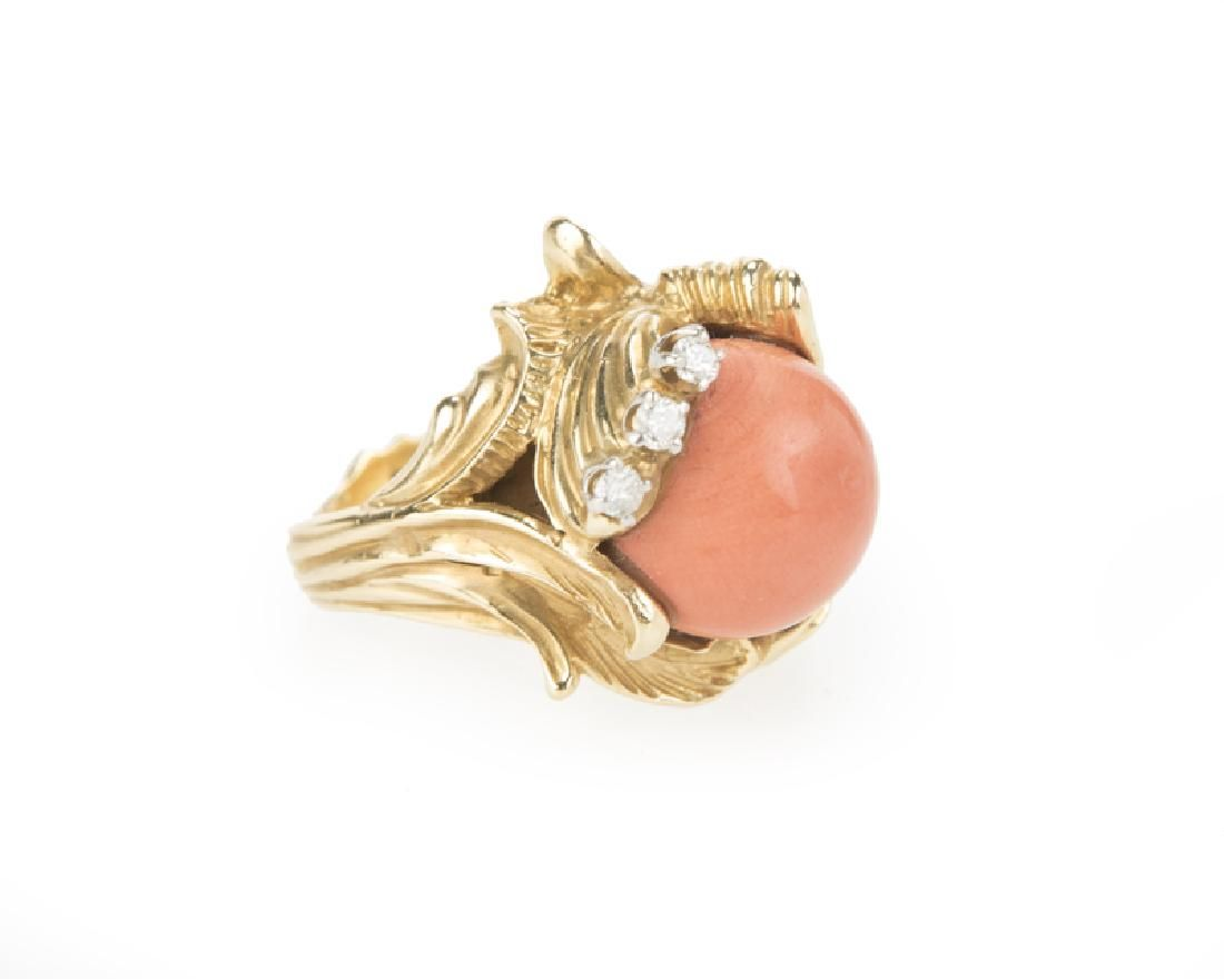A coral and diamond ring, by Erwin Pearl