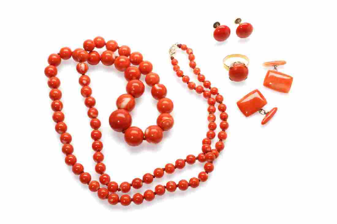 A group of coral jewelry
