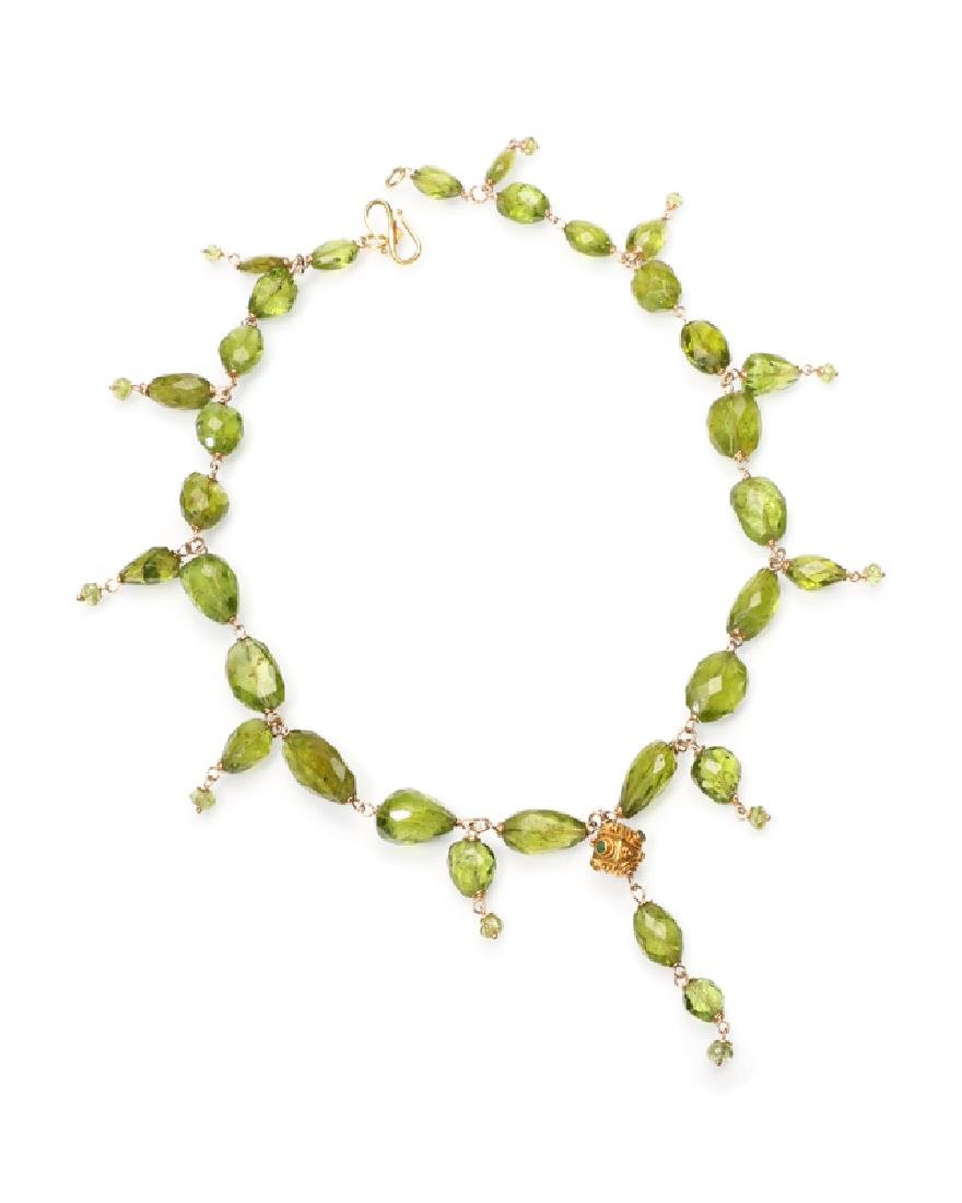 A peridot bead necklace