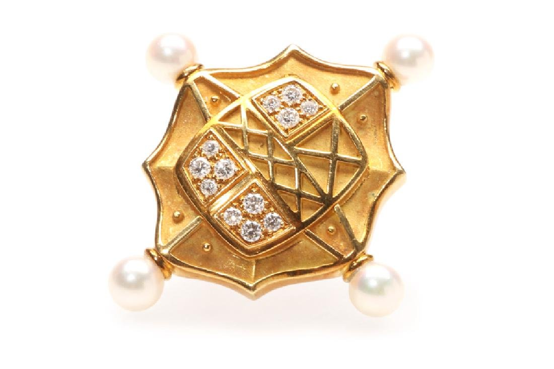A diamond and cultured pearl pin, Turi