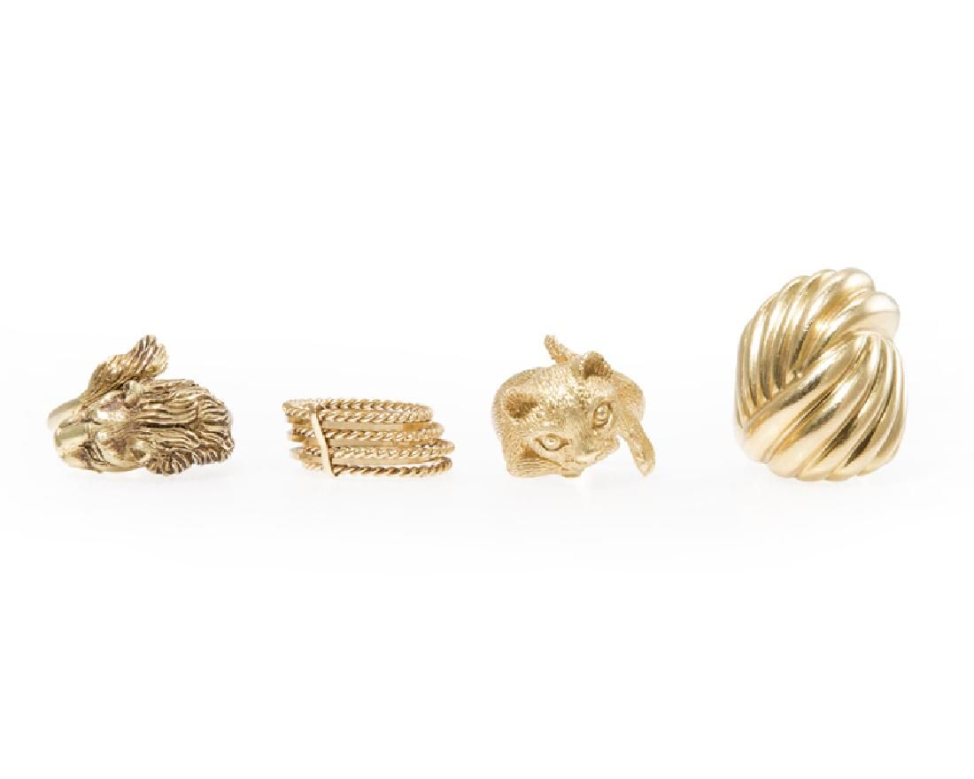 Four various gold rings
