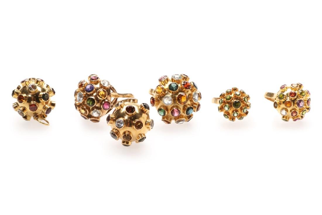 A group of six gold and gemstone sputnik items
