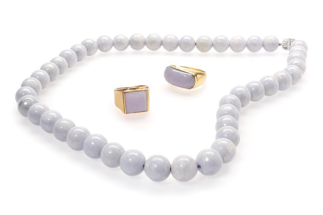 Four lavender jade jewelry items