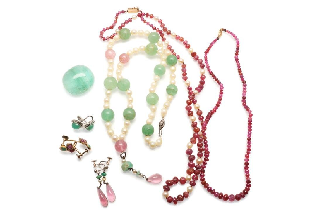 A group of gemstone jewelry