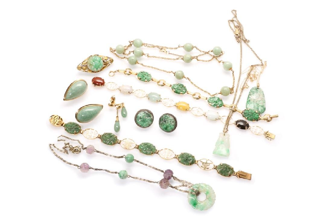 A group of jade jewelry