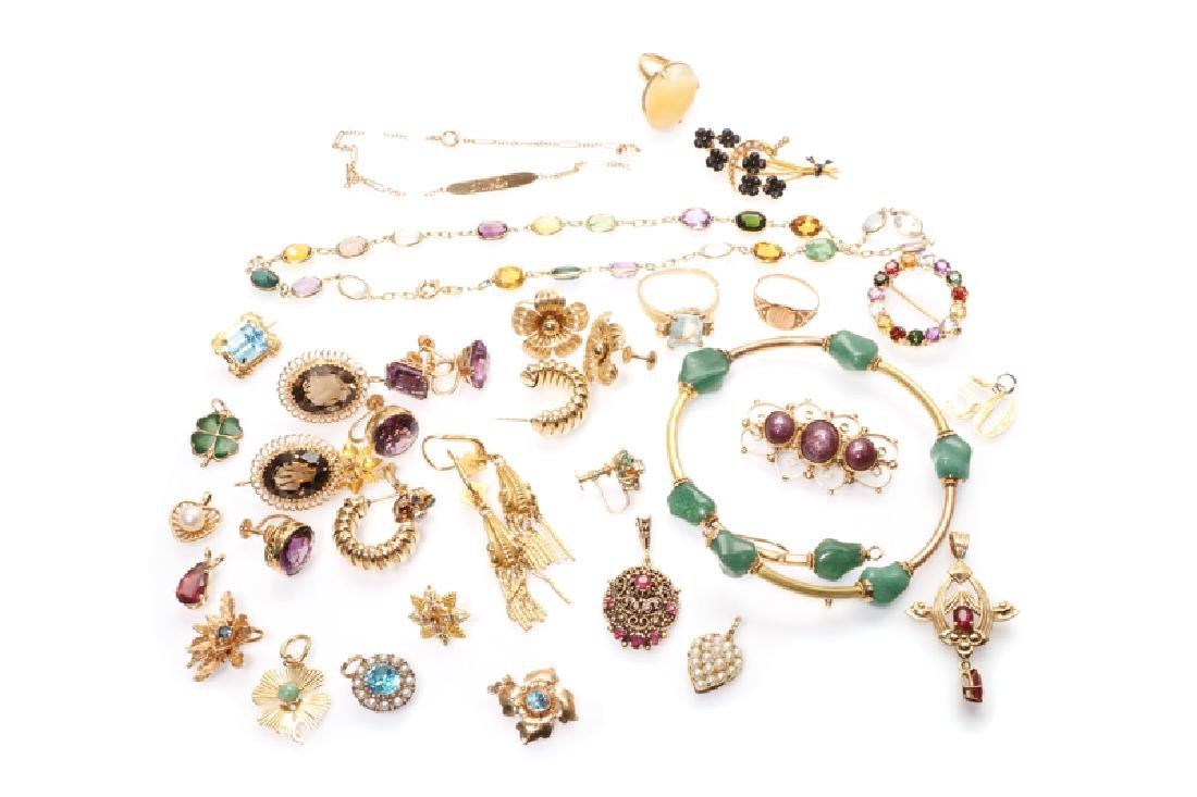 A group of gold and gemstone jewelry