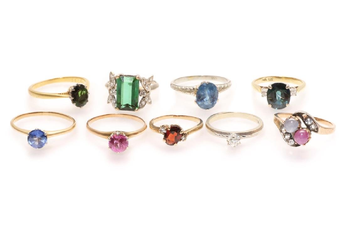 A group of nine various gold and gemstone rings