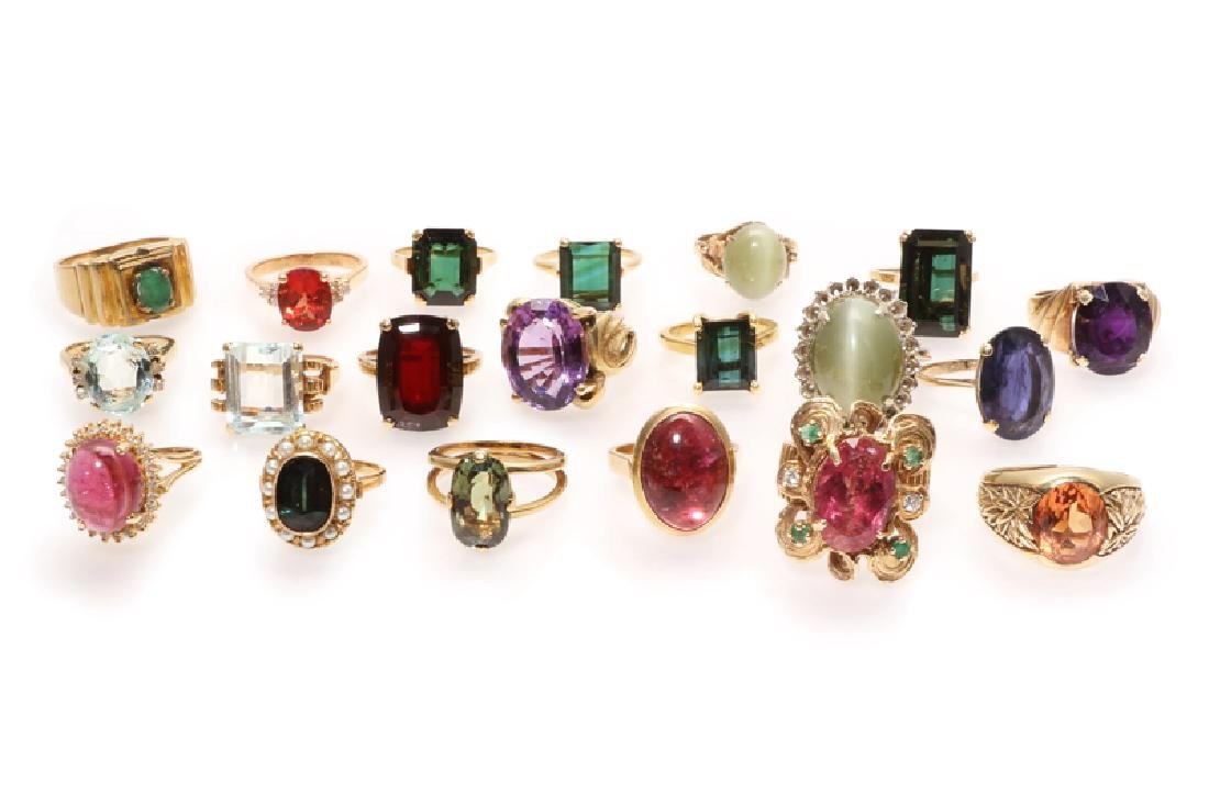 A group of twenty various gold and gemstone rings