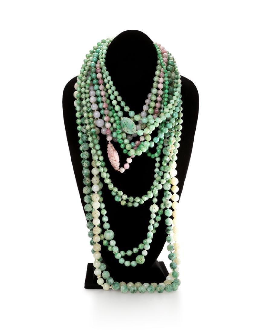 Fifteen various jade necklaces