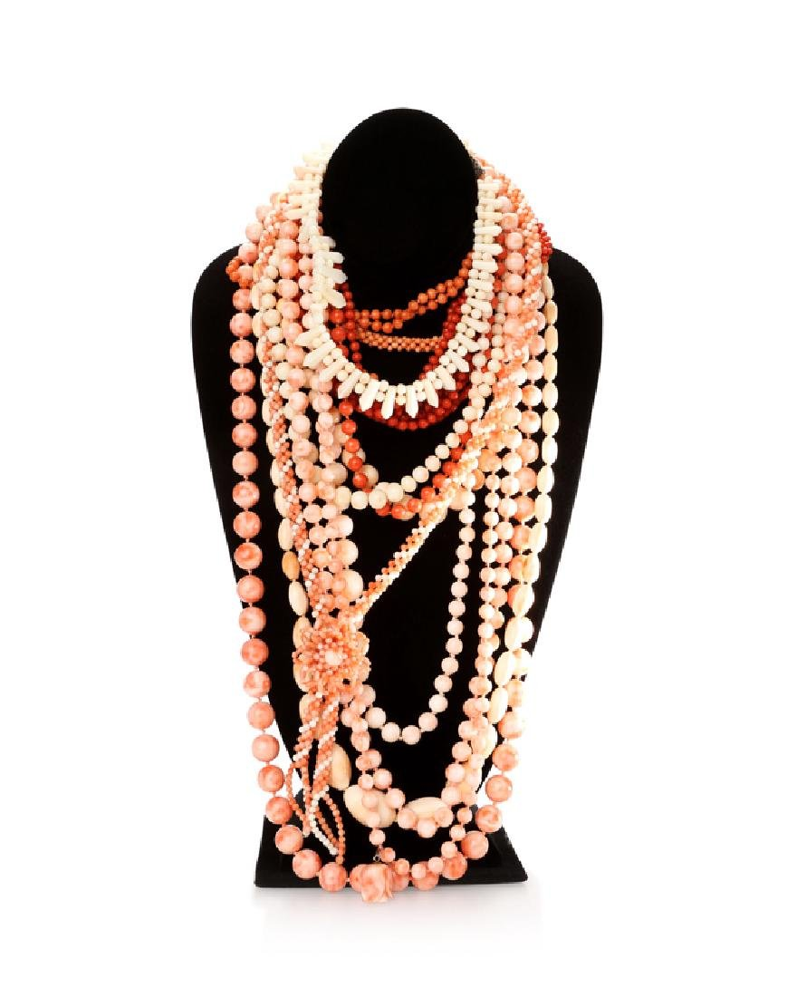Fifteen various coral necklaces