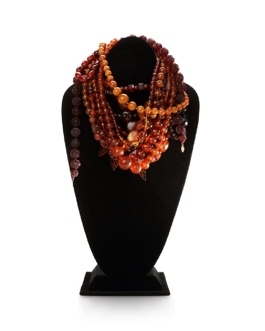 Various amber, resin and plastic bead jewelry