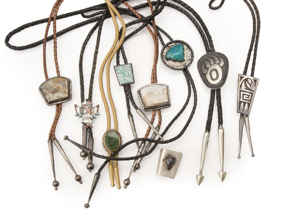 Nine Native American and Western bolo ties
