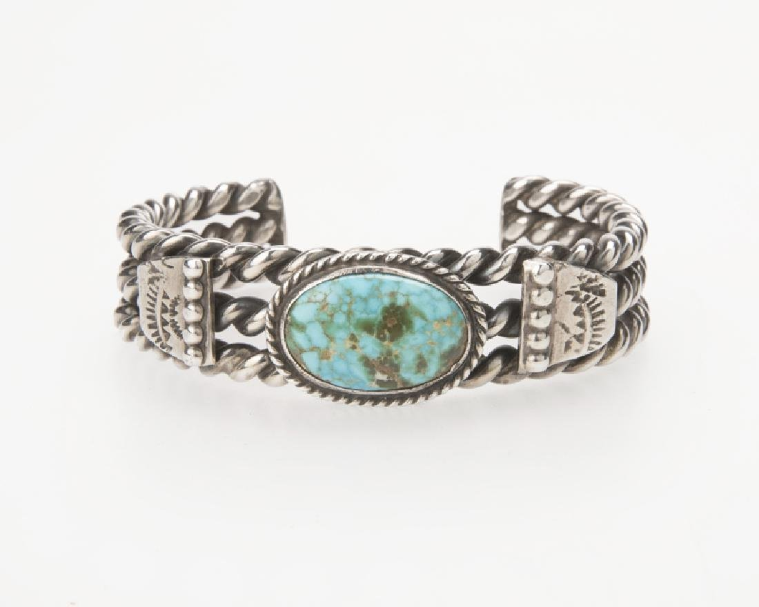 A Native American sterling silver & turquoise cuff