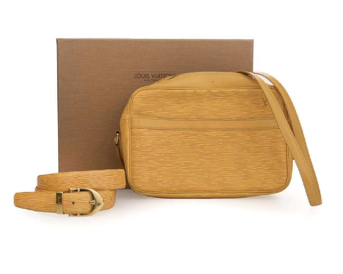 Yellow epi leather shoulder bag and belt, Louis Vuitton