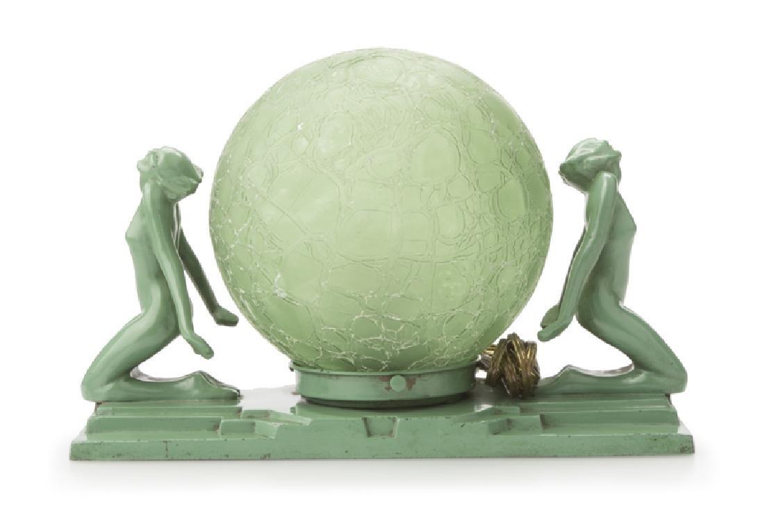"""An Art Deco Frankart Inc. """"Double Nudes"""" table lamp"""