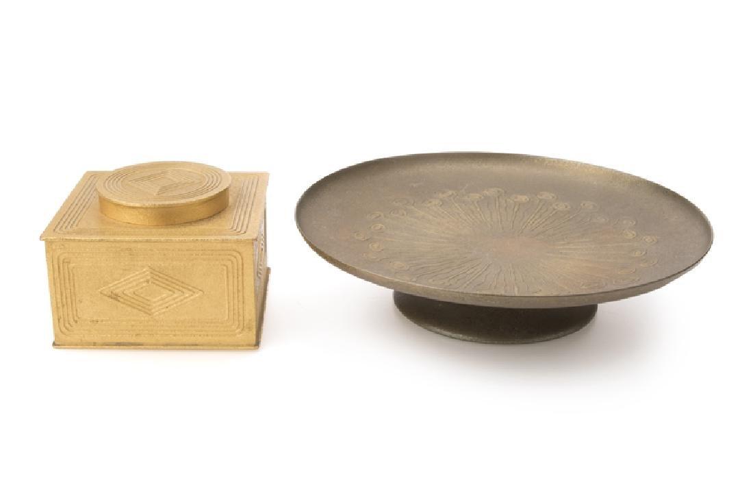 Two Tiffany Studios gilt-bronze objects