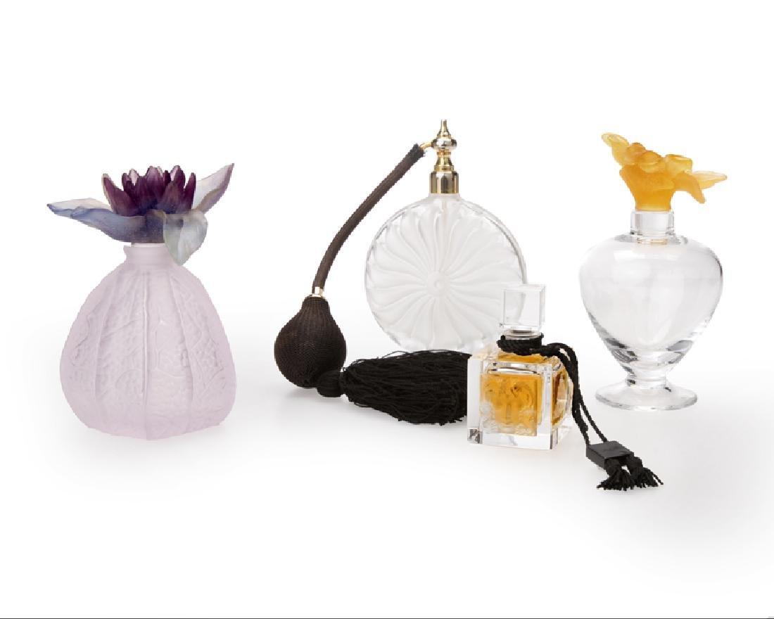Four French art glass perfume bottles