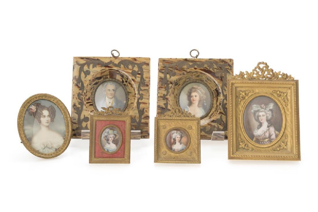 A group of six portrait miniatures