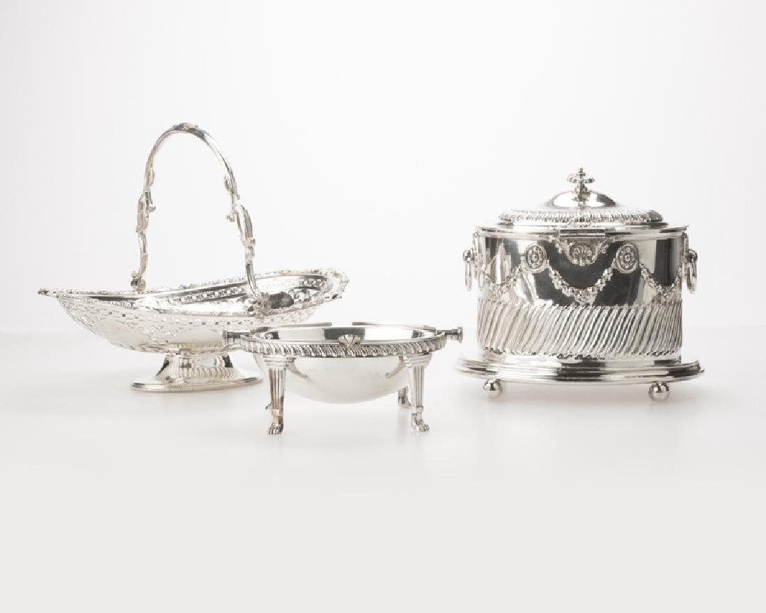 Three English silver-plated items