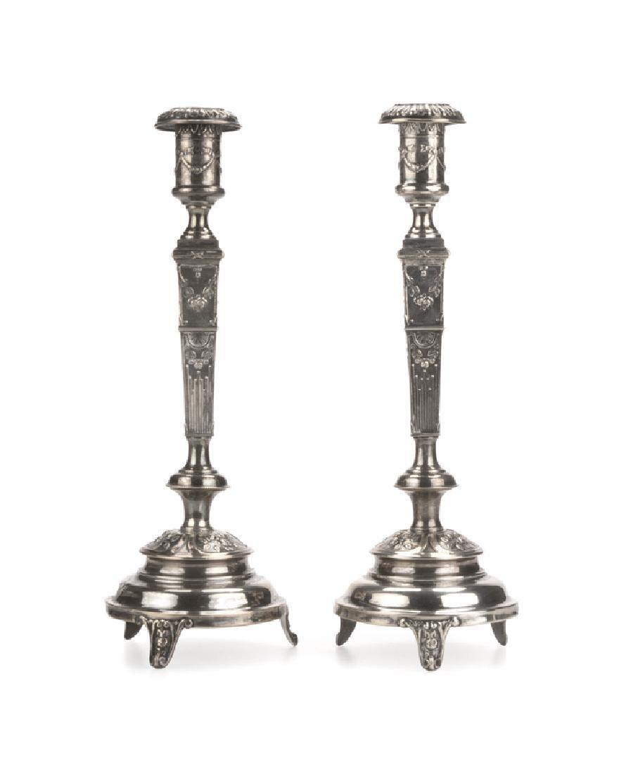 A pair of .800 silver Polish shabbat candlesticks