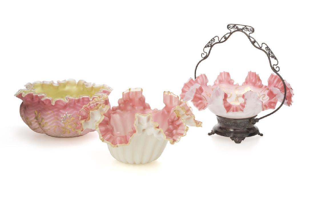 Three Victorian ruffled-edge art glass bowls